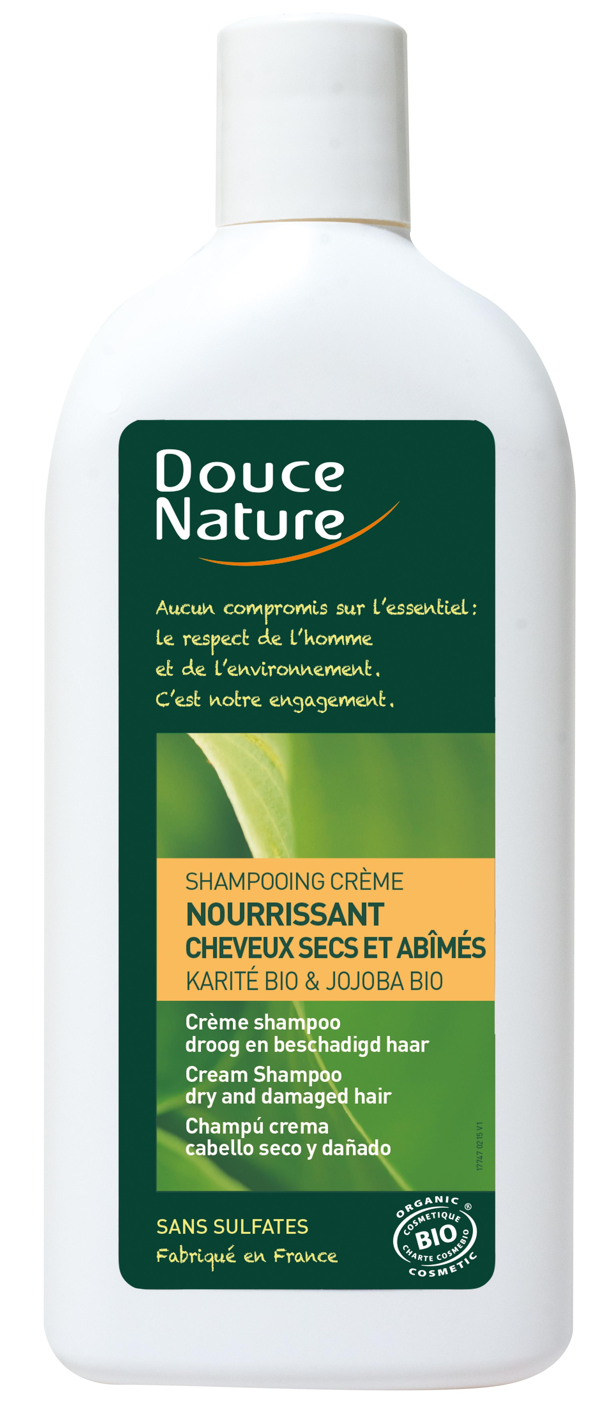Shampooing crème nourissant cheveux secs et abimés, Douce Nature (300 ml)