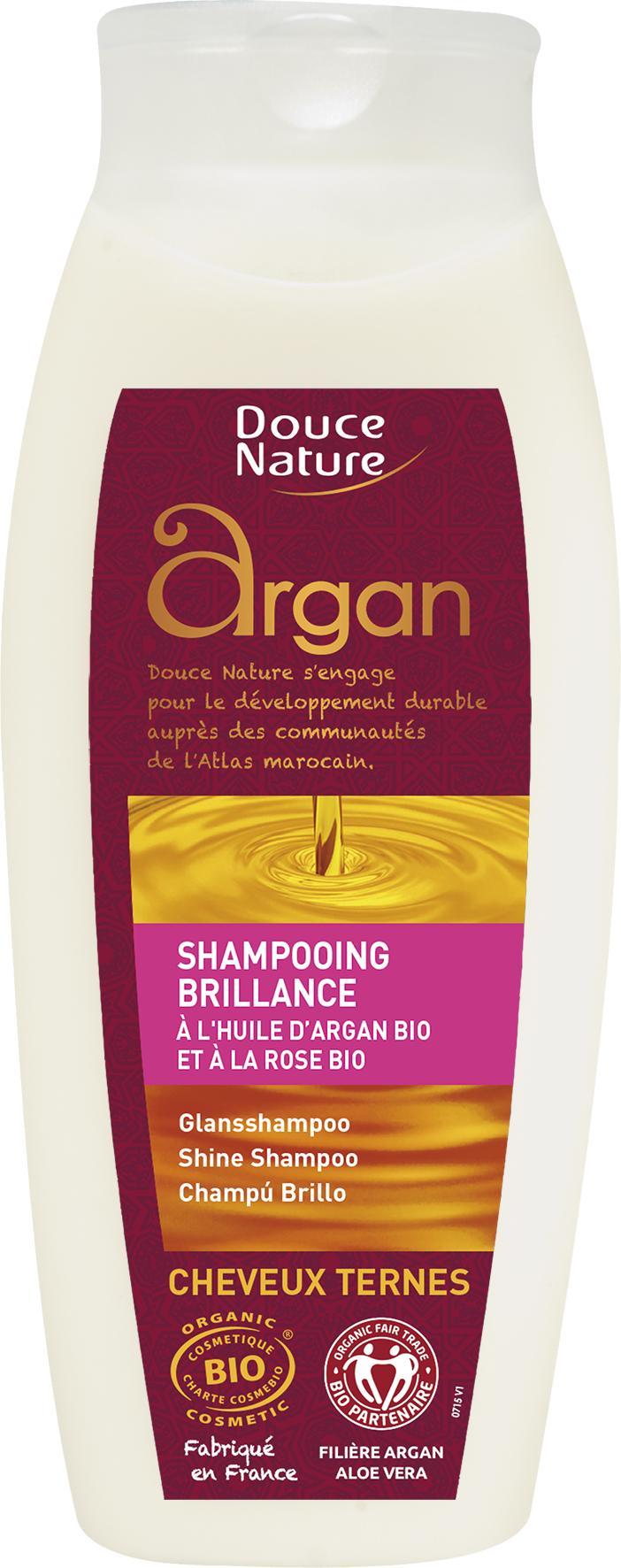 Shampooing brillance aux huiles d'argan et de rose du Maroc BIO, Douce Nature (250 ml)