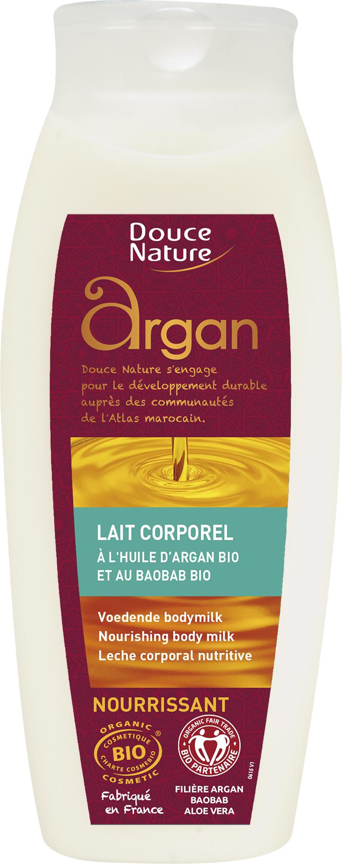 Lait nourrissant pour le corps aux huiles d'argan et de baobab BIO, Douce Nature (250 ml)