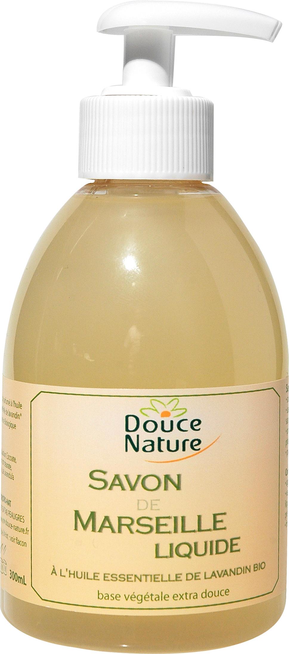 Savon de Marseille liquide à l'huile essentielle de Lavandin BIO, Douce Nature (300 ml)