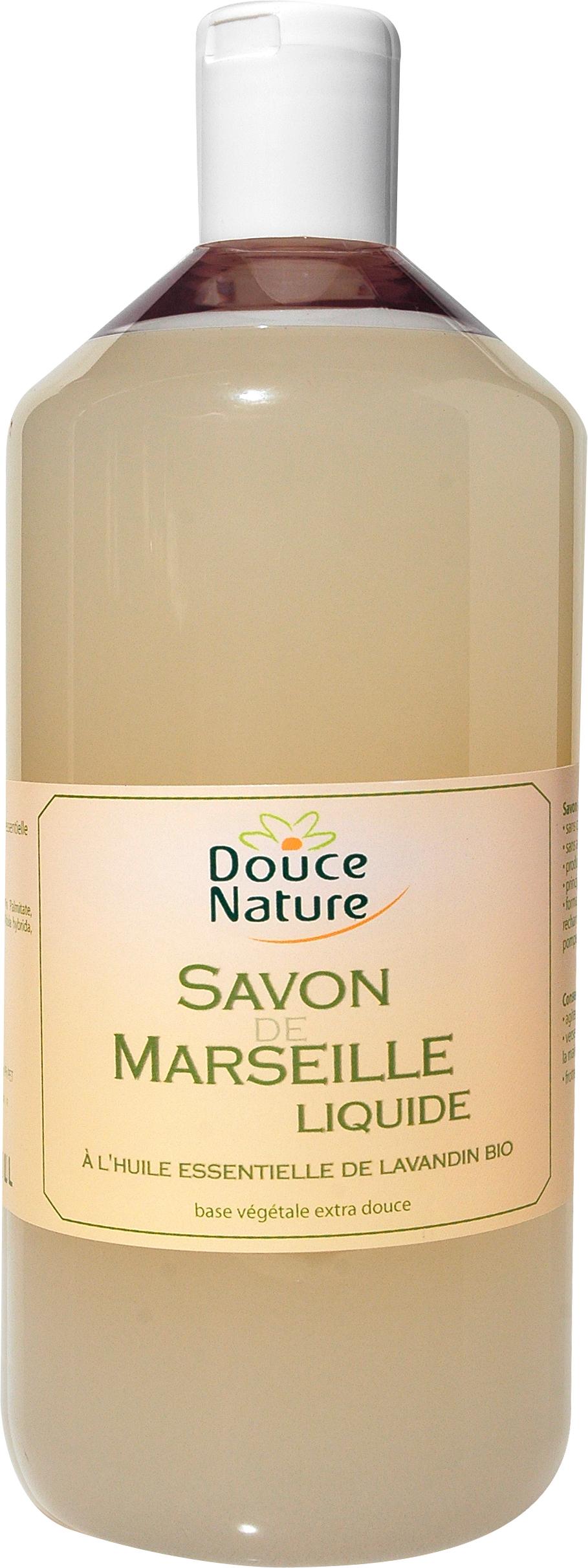 Savon de Marseille liquide à l'huile essentielle de lavandin BIO, Douce Nature (1 l)