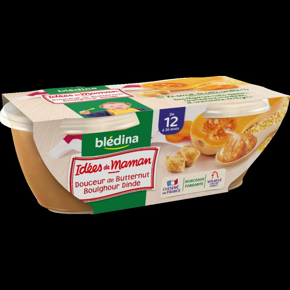 Bols douceur de butternut, boulghour, dinde Idées de maman - dès 12 mois, Blédina (2 x 200 g)