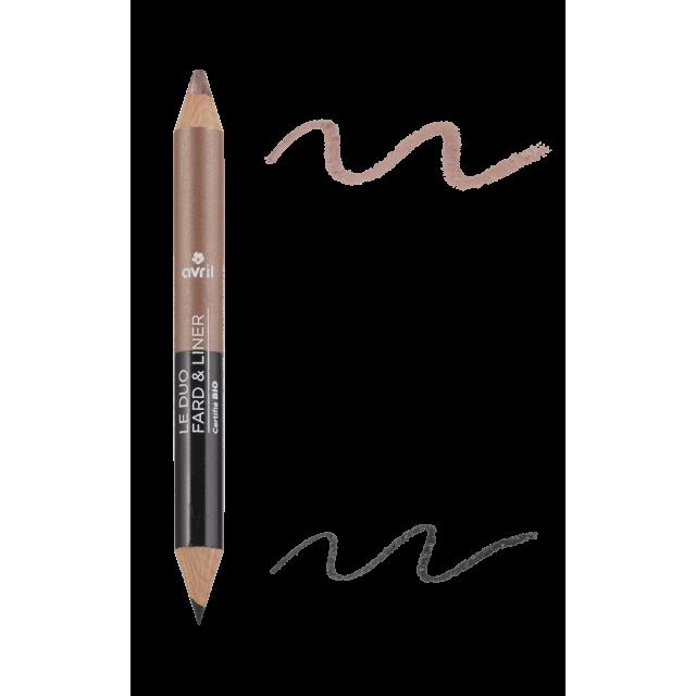 Duo fard & liner noir charbon taupe nacré certifié BIO, Avril (2 g)