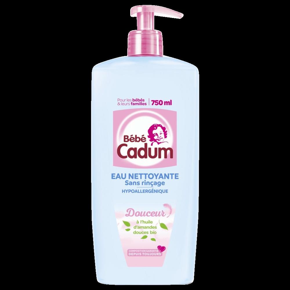 Eau pure nettoyante sans rinçage à l'huile d'amande douce, Bébé Cadum (750 ml)