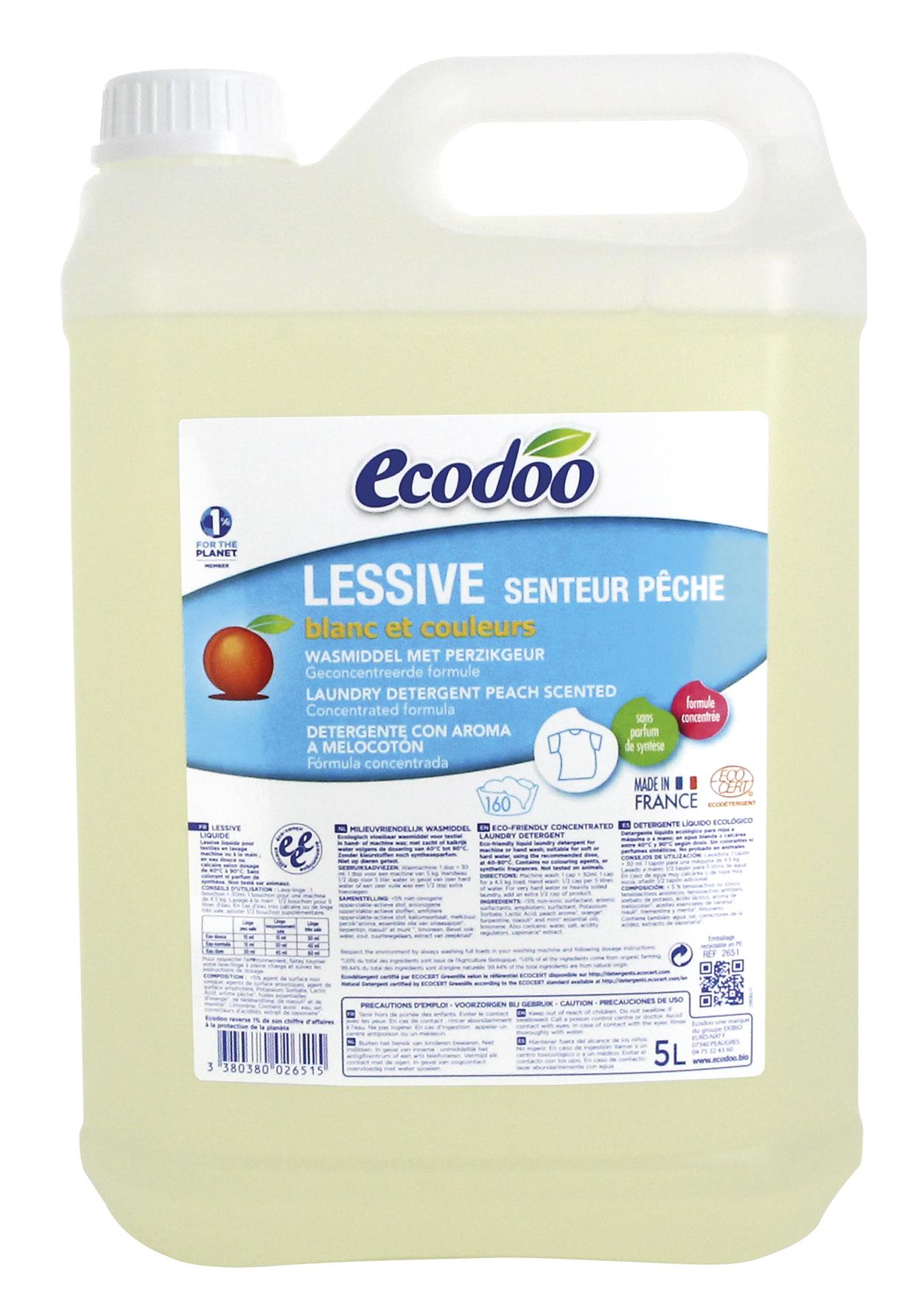 Lessive liquide senteur pêche, Ecodoo (5 l)