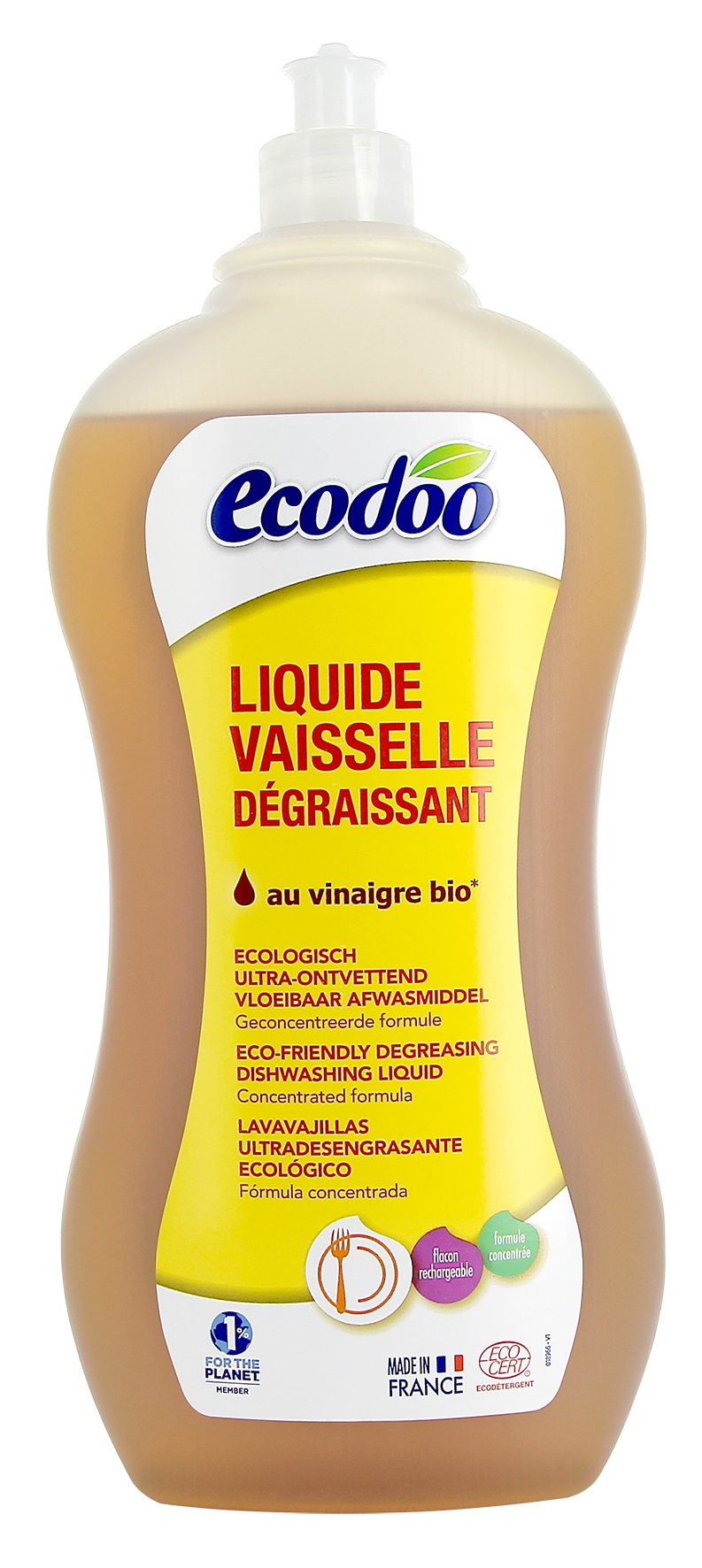 Liquide vaisselle dégraissant au vinaigre BIO, Ecodoo (1 l)