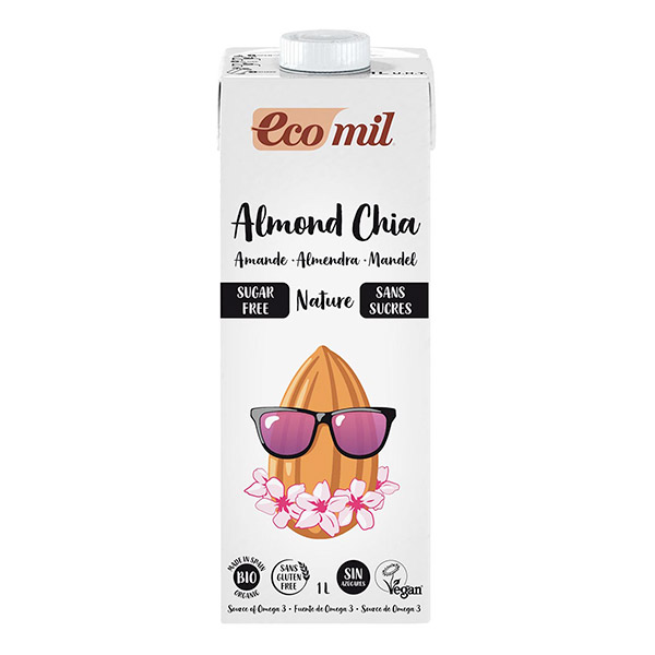 Boisson amande chia sans sucre BIO, Ecomil (1 L)