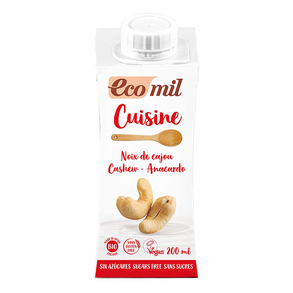 Crème cuisine aux noix de cajou sans sucre BIO, Ecomil (200 ml)