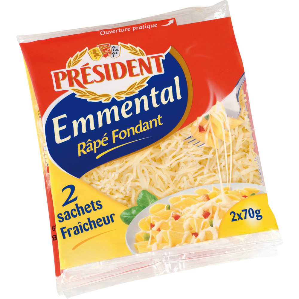 Emmental râpé fondant, Président (2 x 70 g)