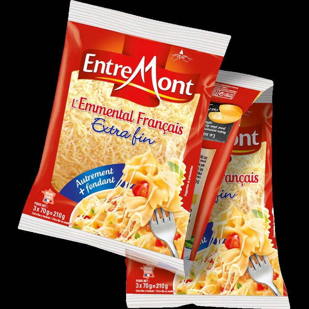 Emmental râpé au lait thermisé Extra fin, Entremont (3 x 70 g)