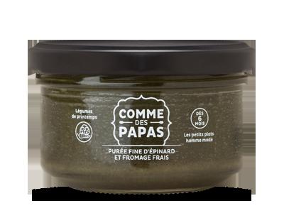 Purée fine d'épinard et fromage frais BIO - 6 mois, Comme des Papas (130 g)