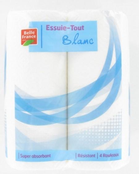 Essuie tout blanc 2 plis, Belle France (x 4)