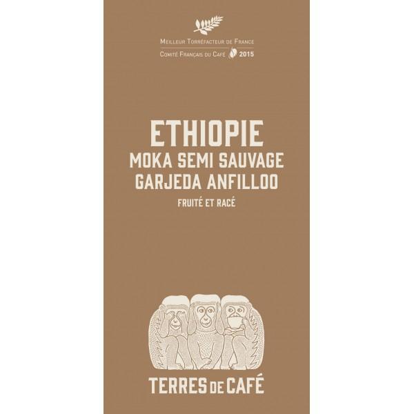 Café moulu Ethiopie Moka semi sauvage, Dulli Anfillo Bio, Terres de Café (250 g)