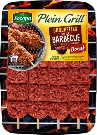 Brochette de boeuf Plein Grill saveur barbecue, Socopa (x 4, 400 g)
