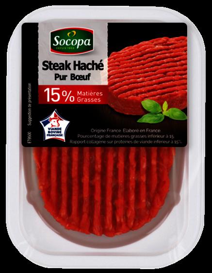 Steack haché pur boeuf 15% de MG, Socopa (x 1, 125 g)