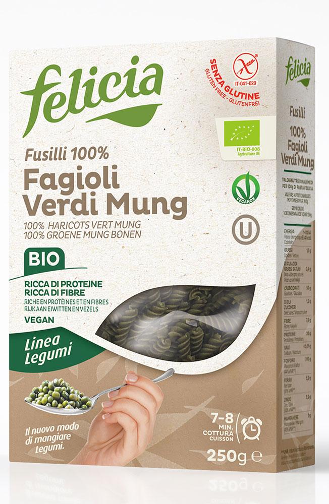 Fusilli aux haricots mungo BIO et sans gluten, Felicia (250 g)