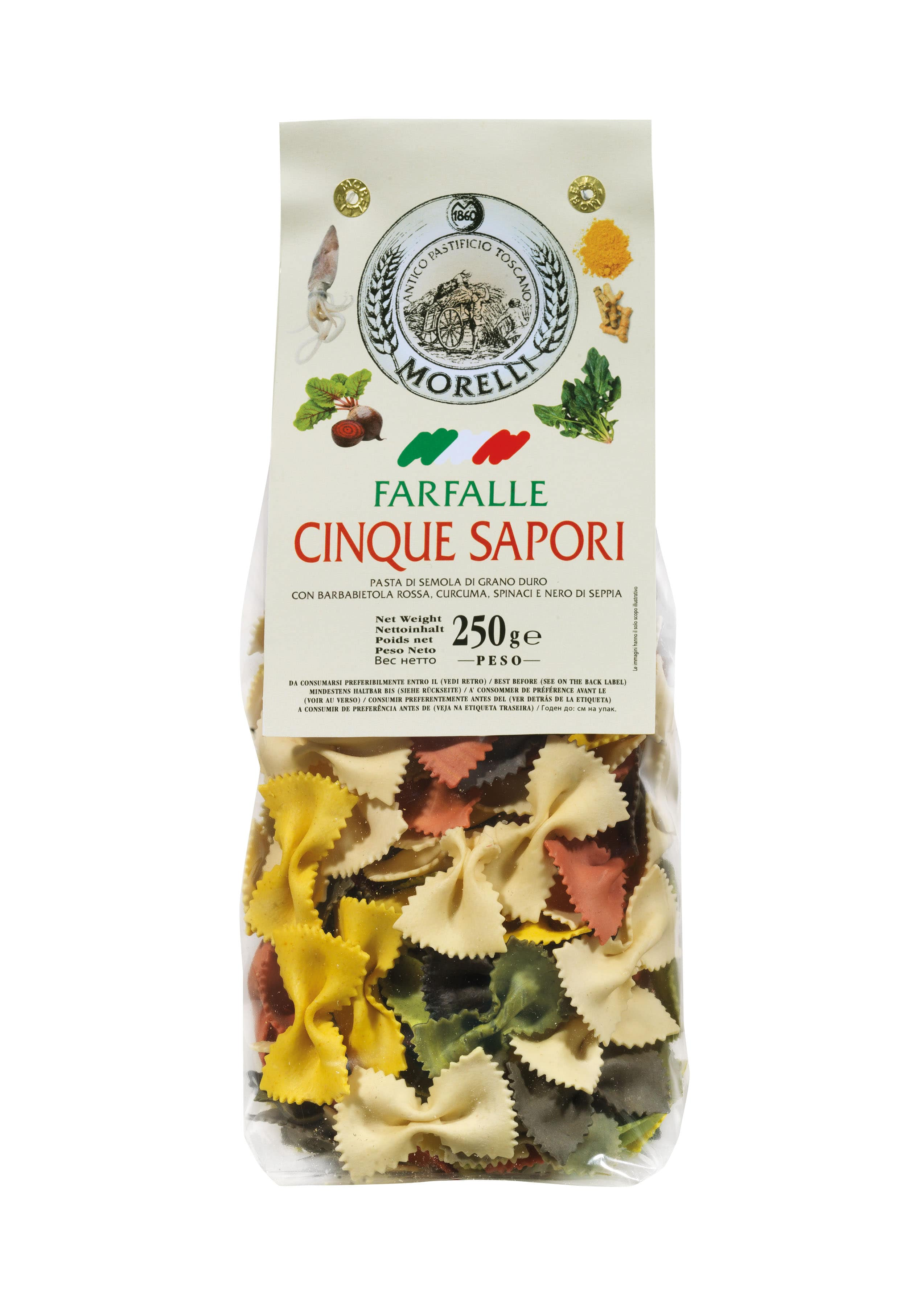 Farfalle 5 saveurs, Morelli (250 g)