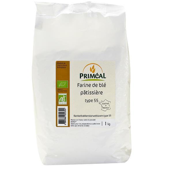 Farine de blé pâtissière BIO T55, Priméal (1 kg)