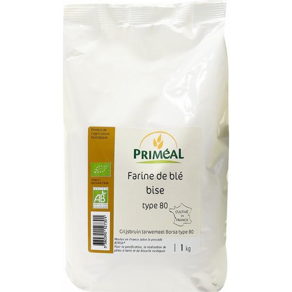 Farine de blé bise BIO T80, Priméal (1 kg)