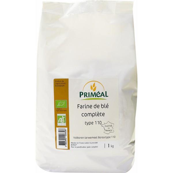 Farine de blé complet BIO T110, Priméal (1 kg)