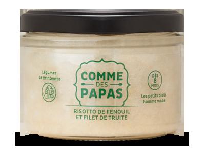 Risotto de fenouil et de filet de truite BIO - 8 mois, Comme des Papas (180 g)