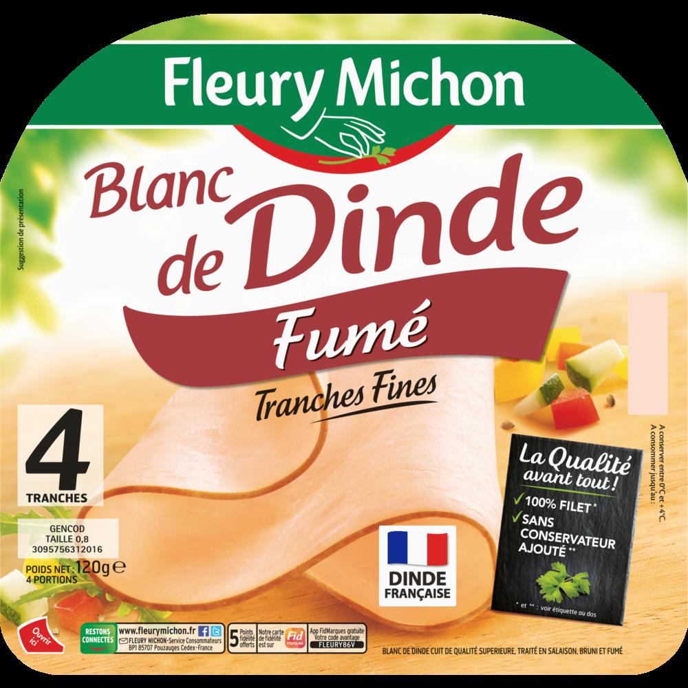 Filet de blanc de dinde fumé, Fleury Michon (4 tranches, 120 g)