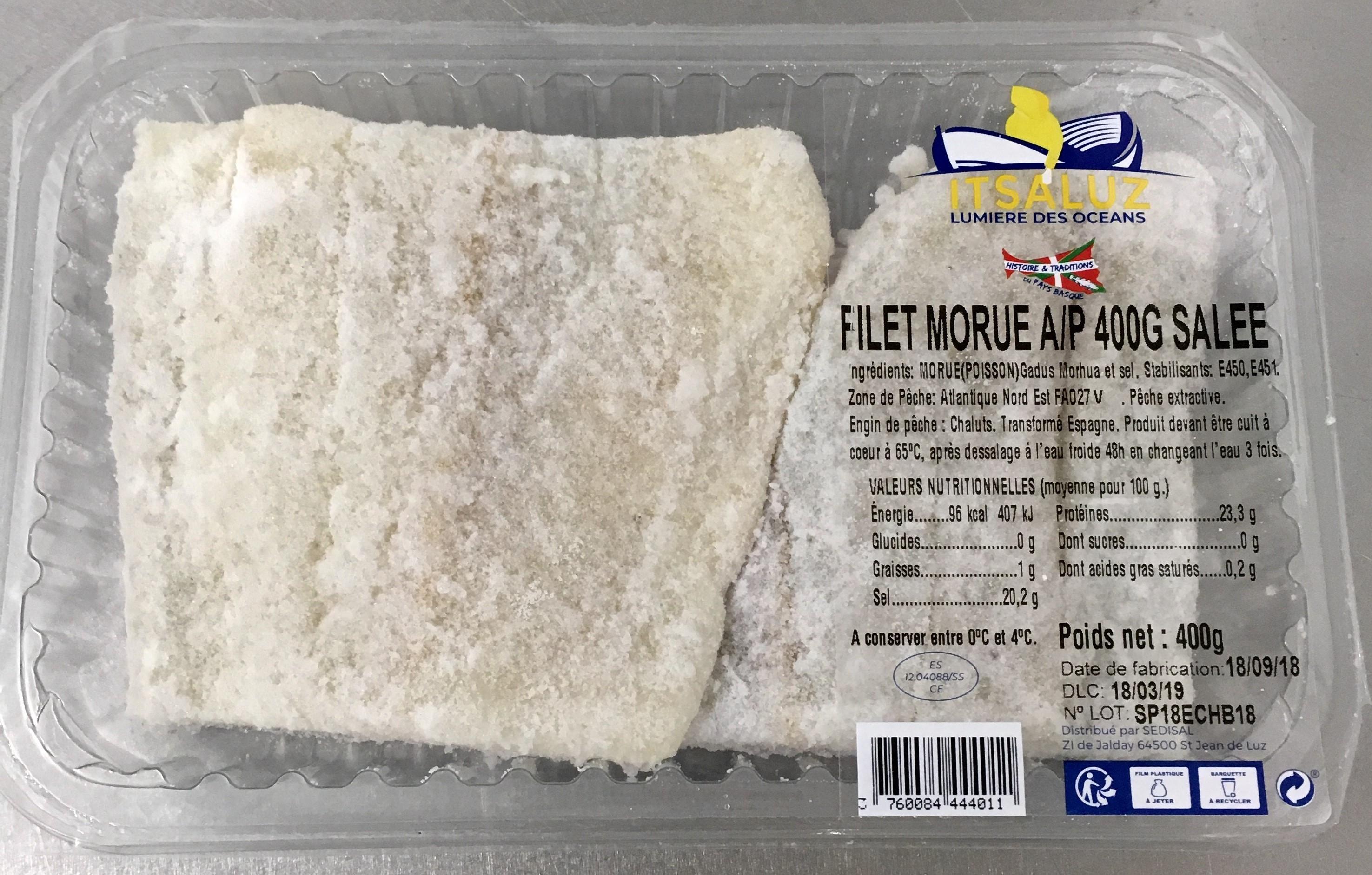 Filet de morue salée avec peau (400 g)