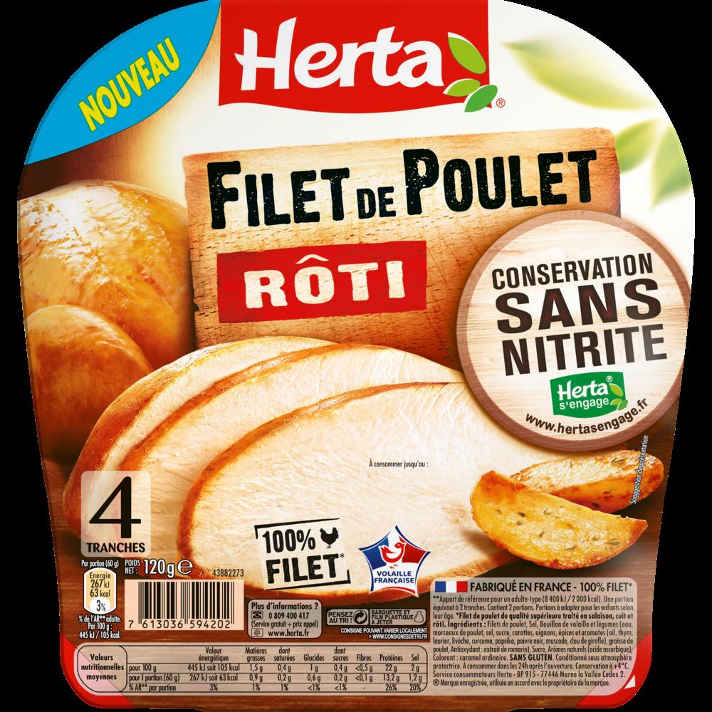Filet de poulet rôti conservation sans nitrite, Herta (4 tranches, 120 g)