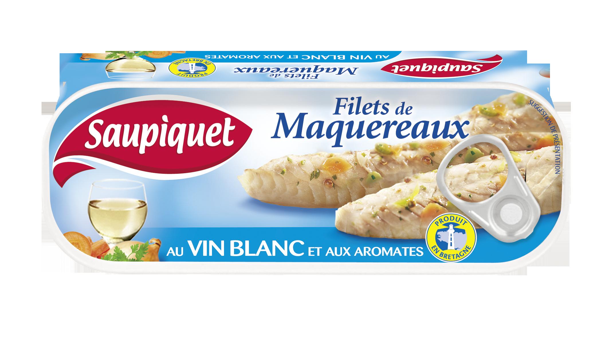 Filets de maquereaux au vin blanc et aux aromates en lot, Saupiquet (2 x 169 g)