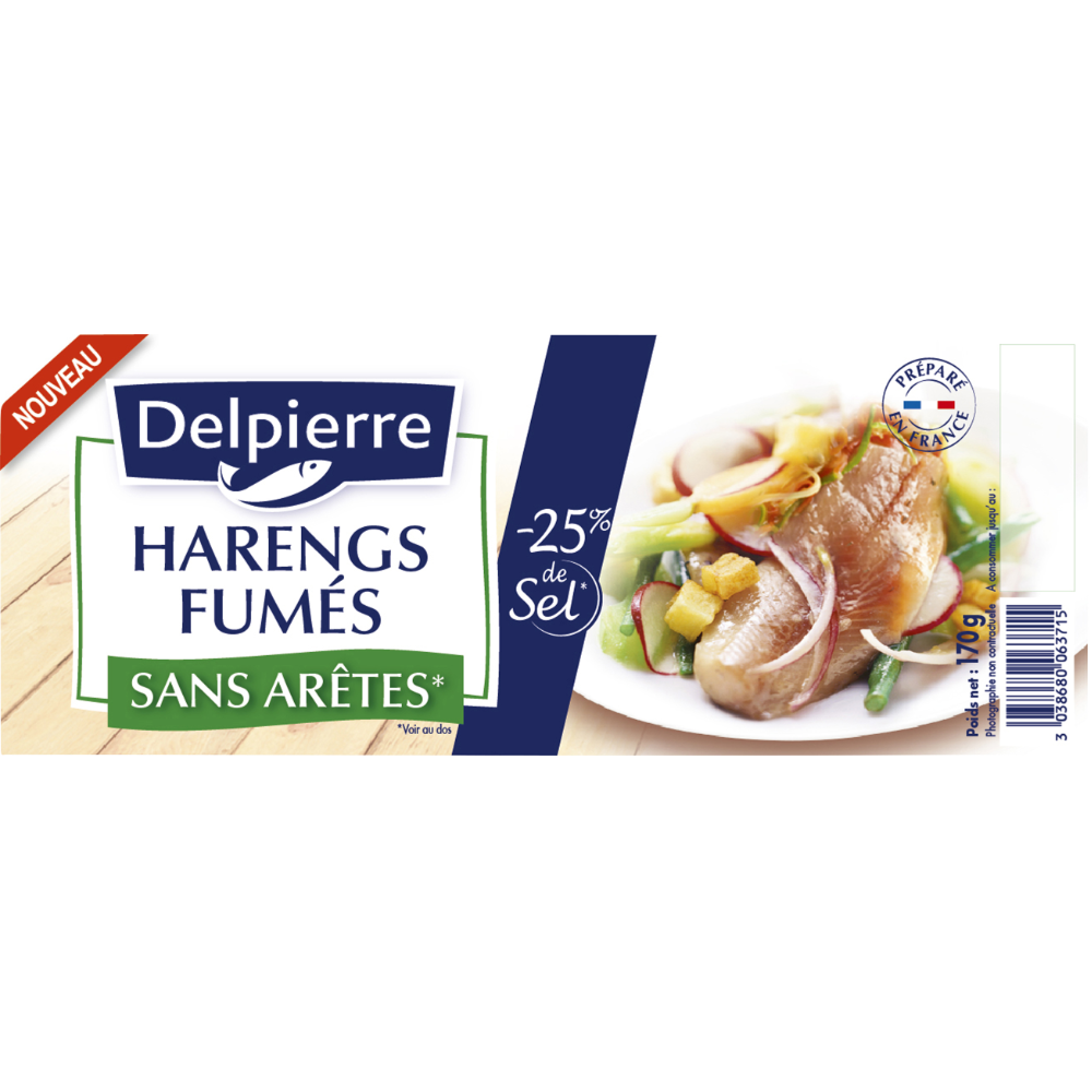 Filets de harengs allégés en sel, Delpierre (170 g)