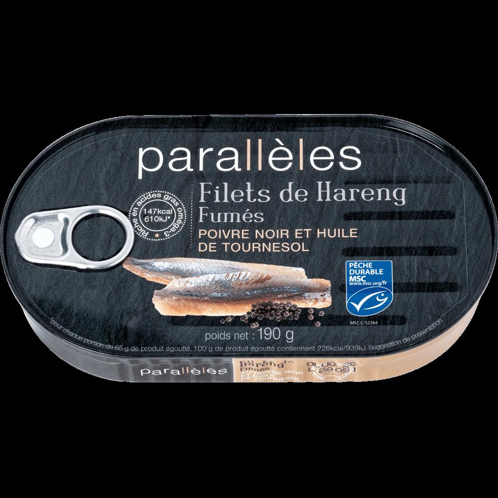 Filets de harengs fumés poivre & huile de tournesol, Parallèle (190 g)