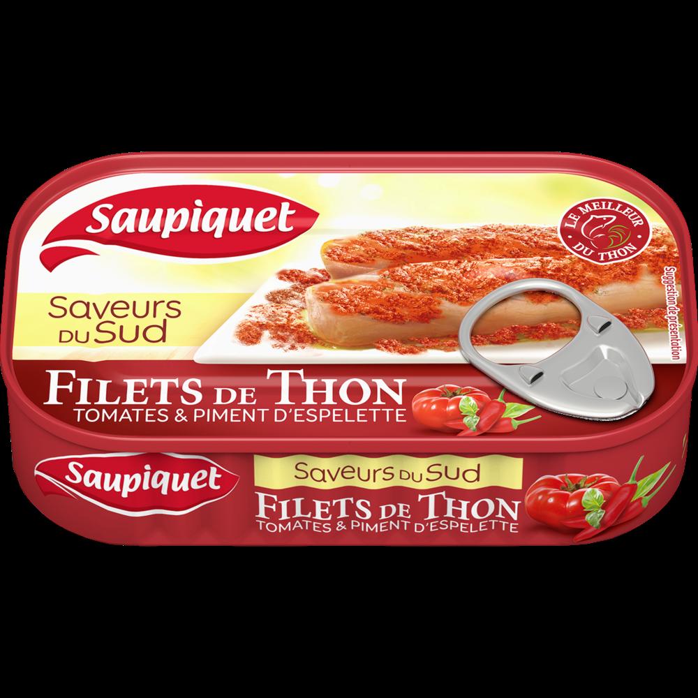 Filets de thon saveur du Sud tomate et piment d'Espelette SAUPIQUET, boîte de 115g