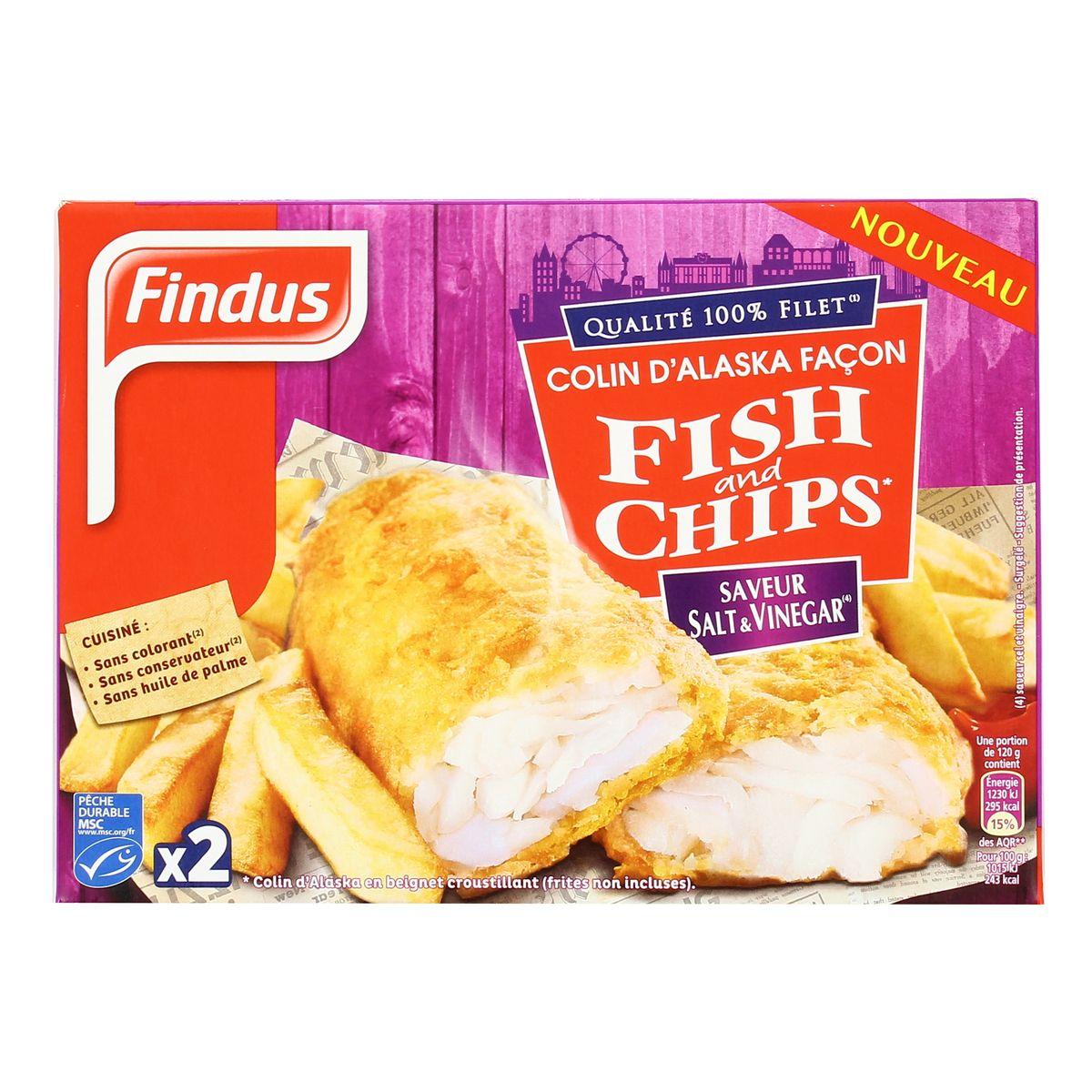 Colin d'Alaska façon Fish & Chips saveur salt vinegar, Findus (2 x 120 g)