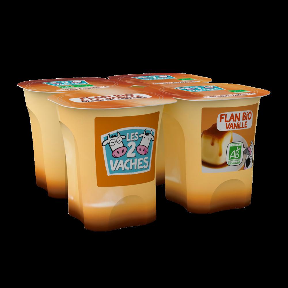Fromage blanc BIO sucré à la vanille, Les 2 Vaches (4 x 100 g)