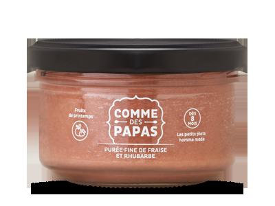 Purée fine de fraise et rhubarbe BIO - 6 mois, Comme des Papas (130 g)
