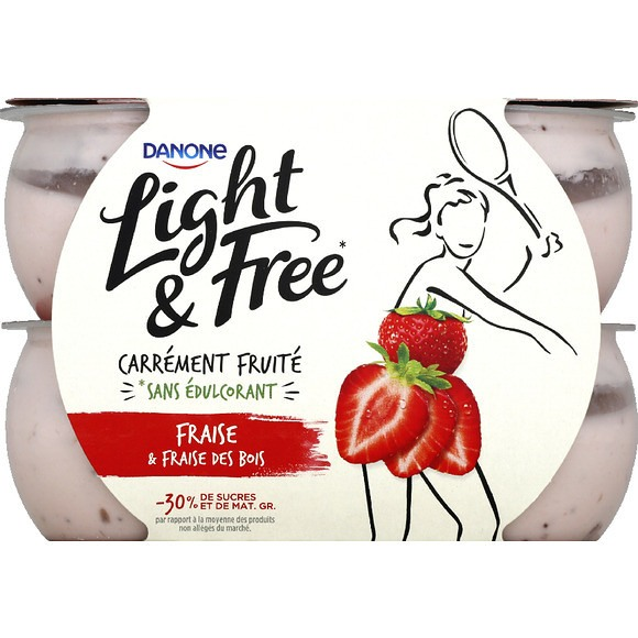 Yaourt fraise & fraise des bois - Light & Free, Danone (4 x 120 g)