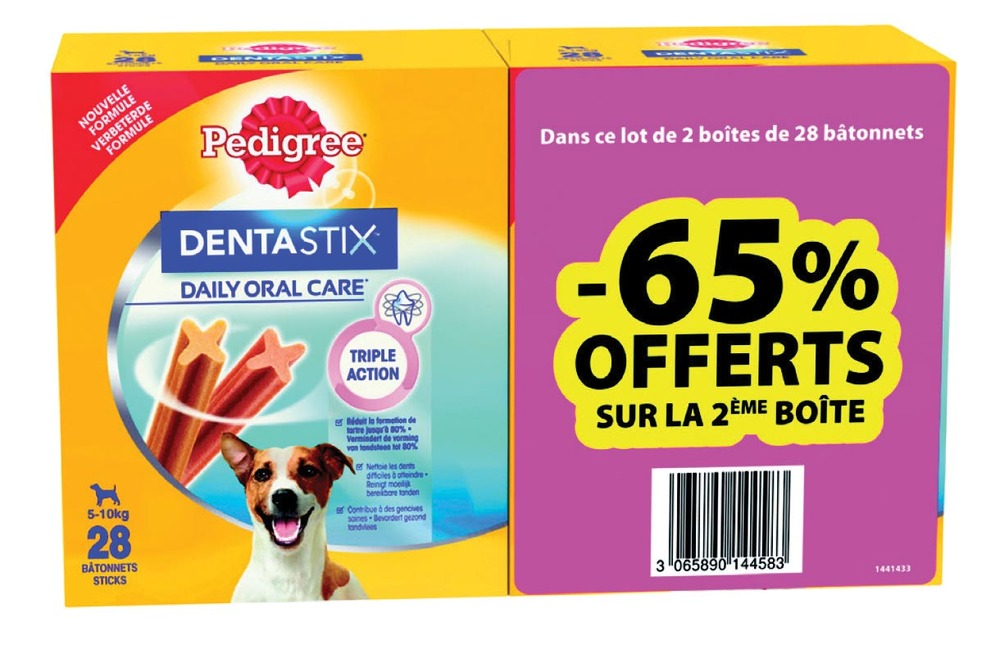 Friandise Dentastix pour chiots et petits chients, Pedigree OFFRE SPECIALE LOT DE 2 (x 56, 880 g)