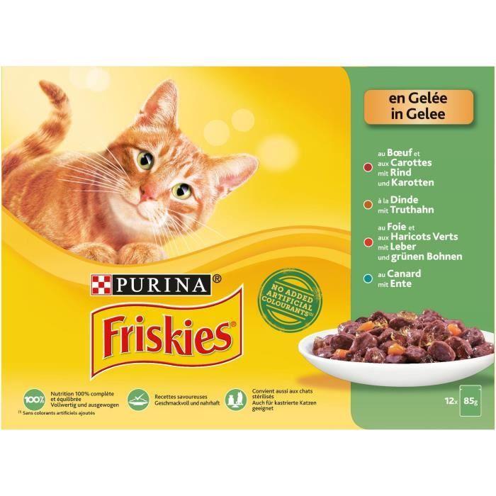 Gelée pour chat au boeuf / dinde / foie / Canard, Friskas (12 x 85 g)