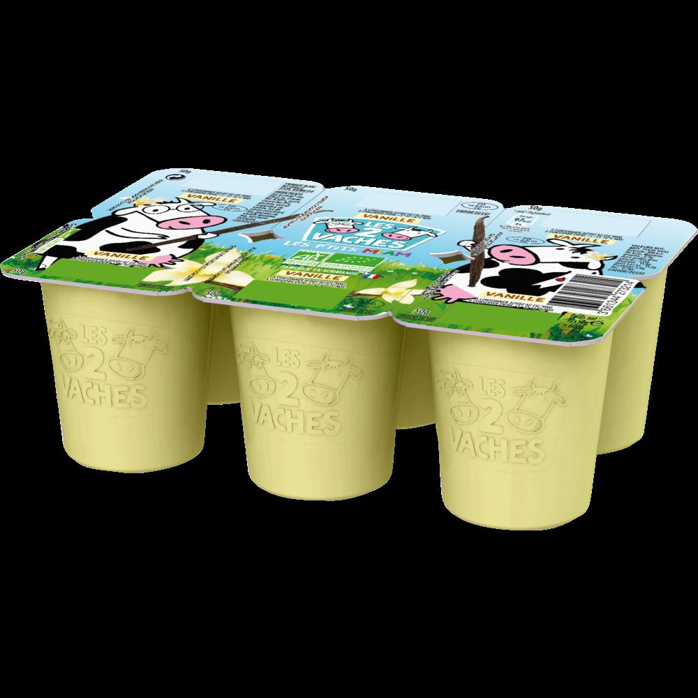 Fromage Blanc BIO sucré à la vanille, Les 2 Vaches (6 x 50 g)