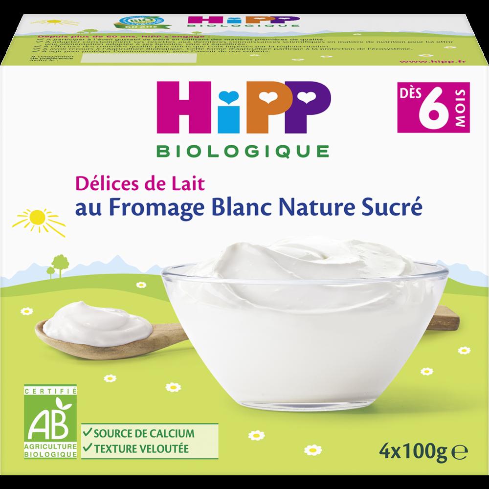 Délices de lait au fromage blanc nature sucré BIO - dès 6 mois, Hipp (4 x 100 g)