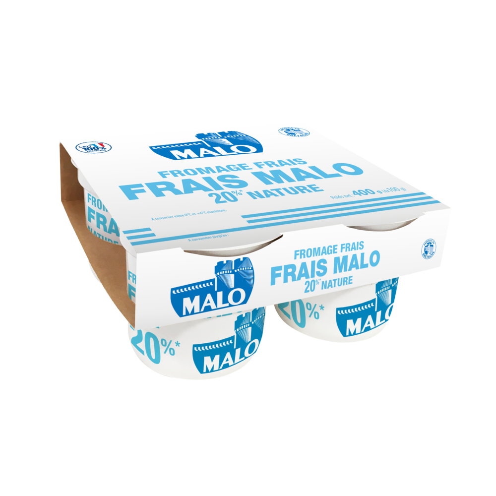 Fromage frais nature 20% de MG, Malo (4 x 100 g)
