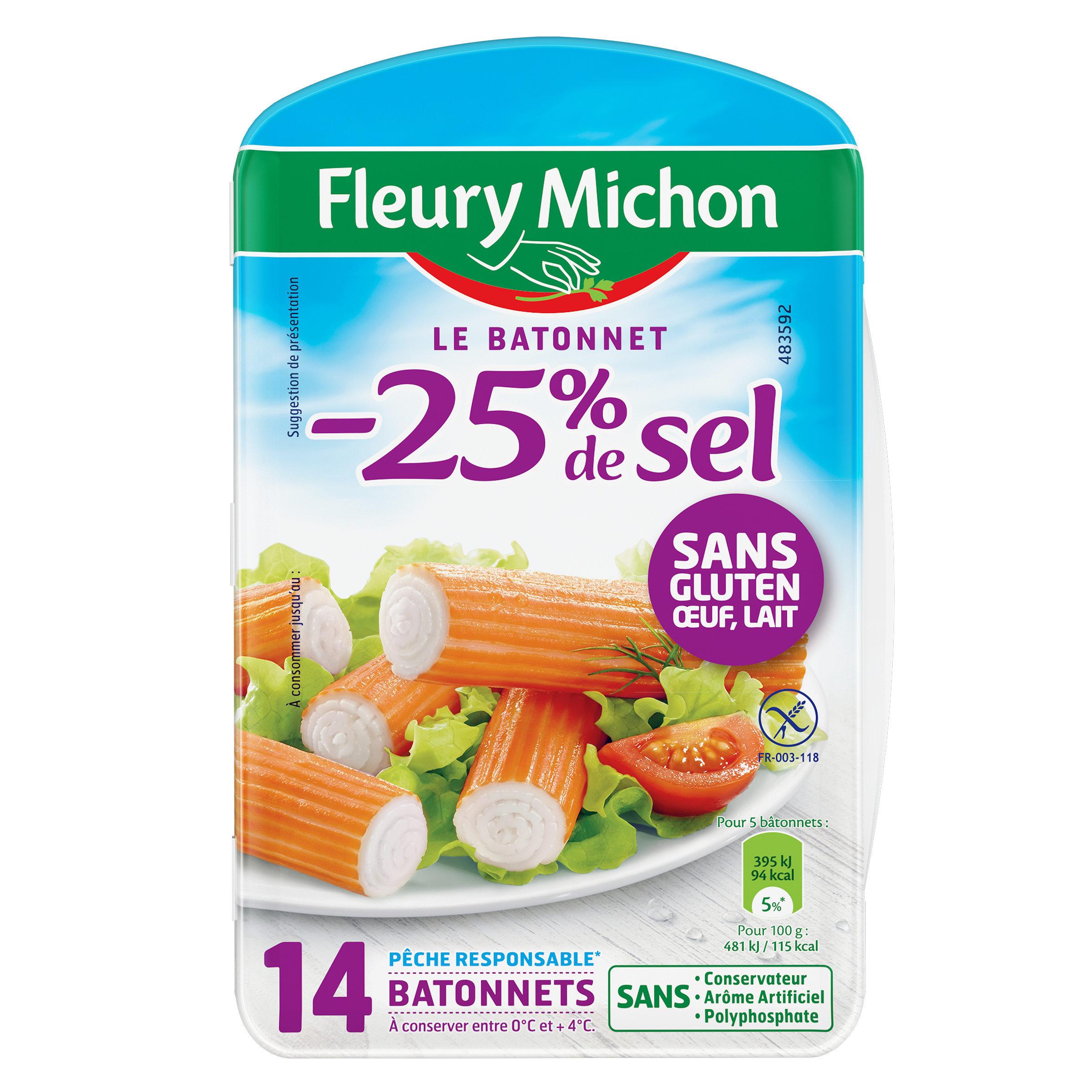 Batonnets de surimi -25% de sel, Fleury Michon (x14, 230 g)