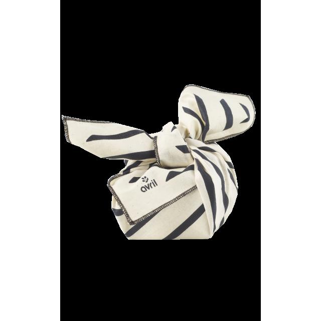 Furoshiki zèbre en coton BIO, Avril (52 x 52 cm)