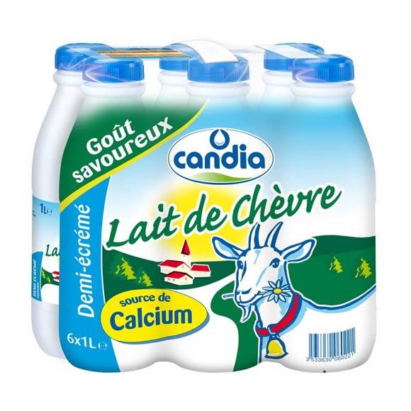 Pack de lait de chèvre demi-écrémé, Candia (6 x 1 L)