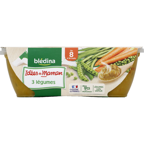 Bols purée 3 légumes - 8 mois, Blédina (2 x 200 g)