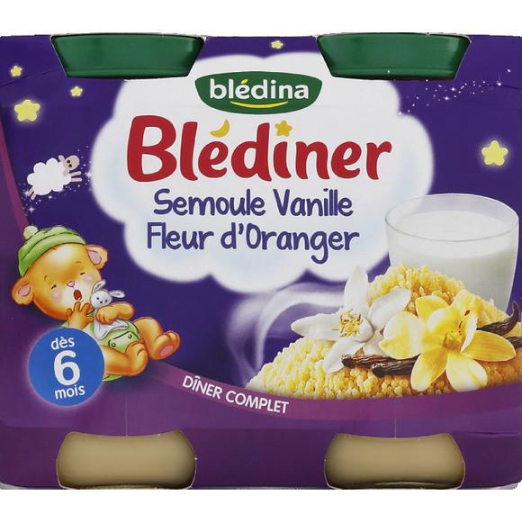 Blédiner semoule vanille, fleur d'oranger - dès 6 mois, Blédina (2 x 200 g)