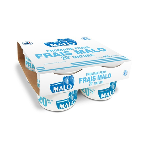 Fromage frais nature 20%, Malo (4 x 100 g)