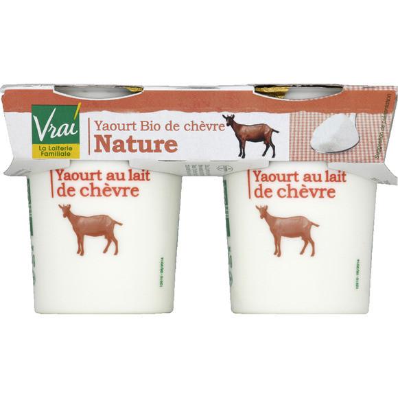 Yaourt Nature de chèvre BIO, Vrai (2 x 125 g)