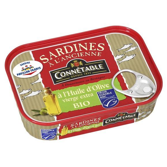 Sardines à l'ancienne à l'huile d'olive BIO, Connetable (135 g)