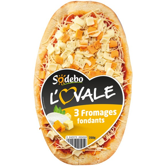 "Pizza ""L'ovale"" 3 fromages fondants, Sodebo (200 g)"
